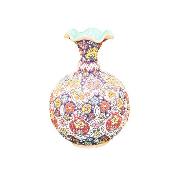 گلدان سفالی میناکاری آبی عمیق مدل شقایق