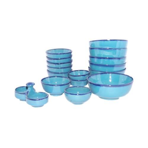 مجموعه ظروف سفالی 16 پارچه آبی عمیق طرح خاطره کد 116