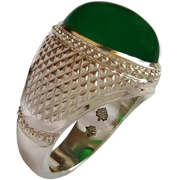انگشتر نقره جواهرسرا عقیق سبز معدنی