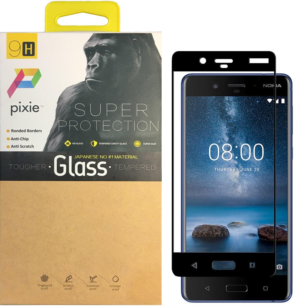 محافظ صفحه نمایش شیشه ای پیکسی مدل 5D  مناسب برای گوشی نوکیا 8
