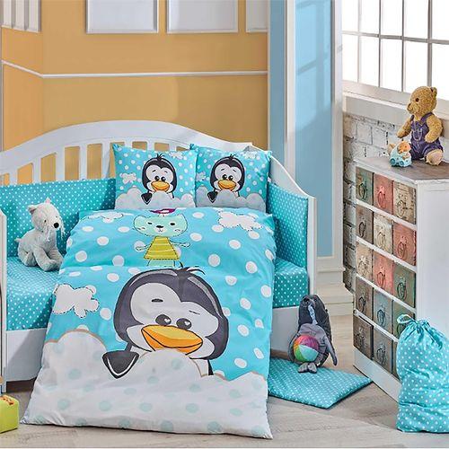 سرویس 4 تکه خواب کودک هابی هوم  مدل Penguin Mavi