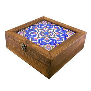 جعبه دمنوش چوبی گالری گل مریم طرح اسلیمی شمسه