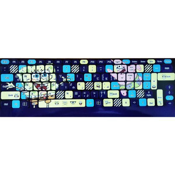 برچسب حروف فارسی کیبورد طرح باب اسفنجی