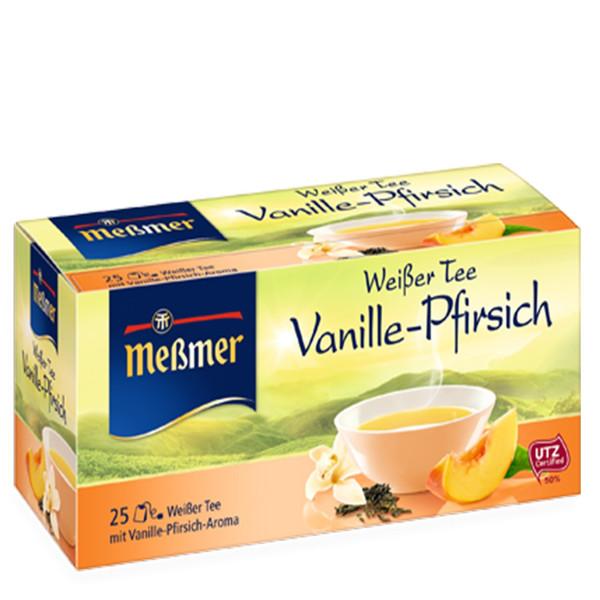 چای سفید وانیل هلو آلمانی مسمر مدل Vanille Pfirsich بسته 25 عددی