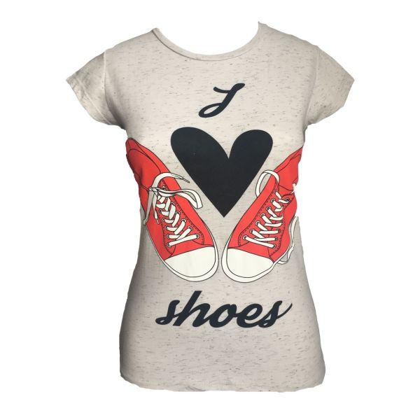 تیشرت آستین کوتاه زنانه  لارا طرح کفش