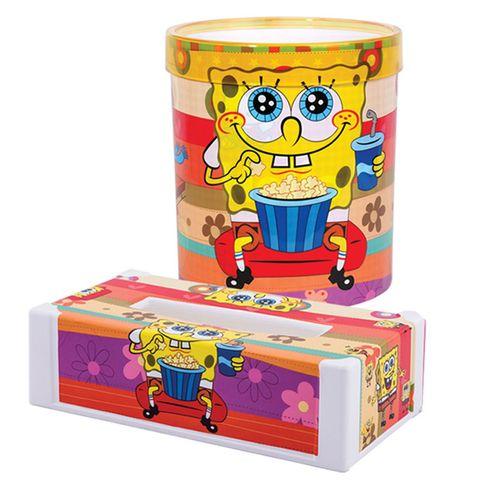ست سطل و جعبه دستمال لیمون مدل SpongeBob