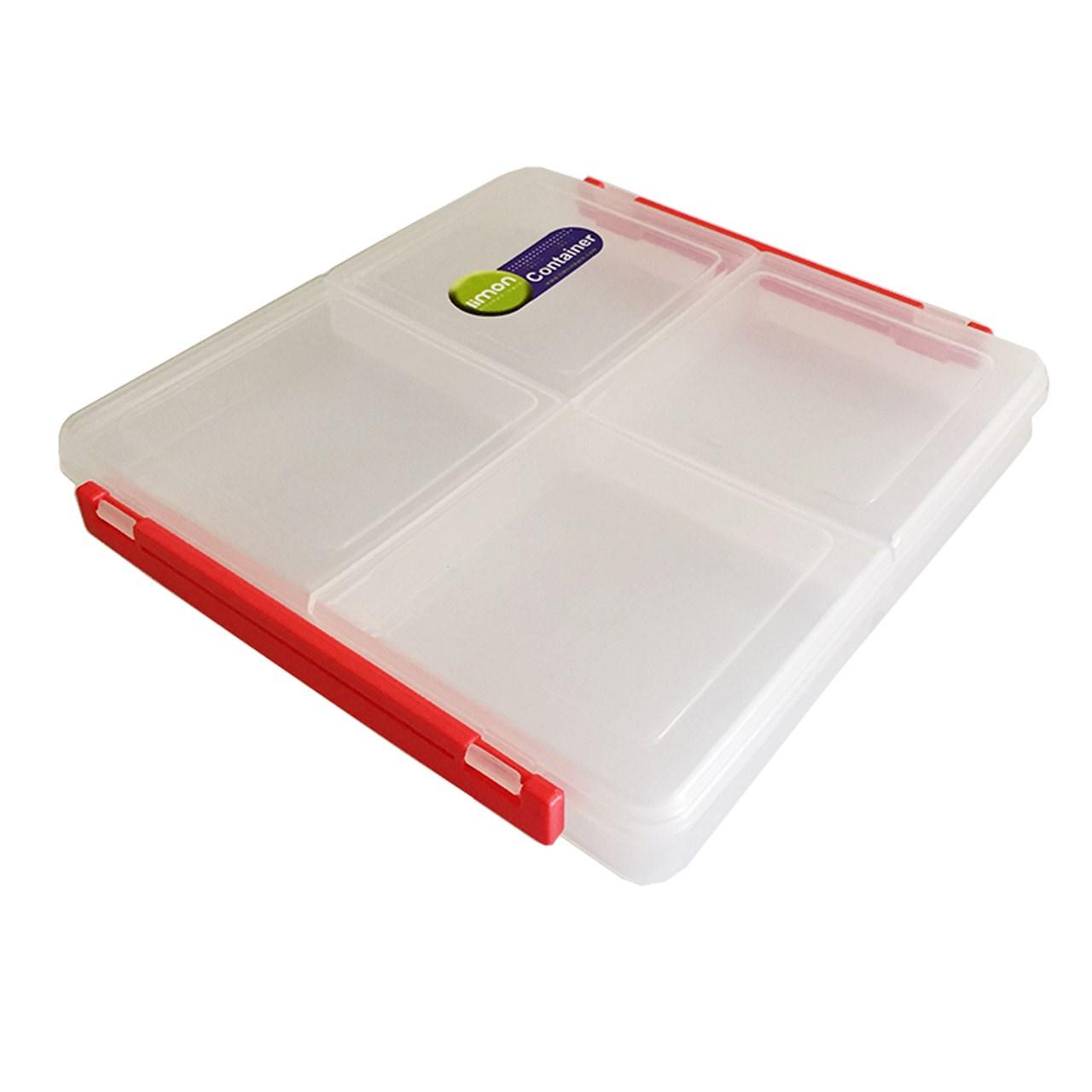 خرید                     ظرف نگهدارنده پلاستیکی لیمون مدل ZNP002 چهار خانه متوسط