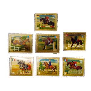 تمبر یادگاری مدل اسب سواری کد bc-1303 مجموعه 7 عددی