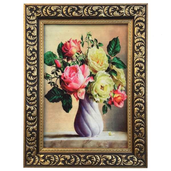 تابلو فرش ماشینی مدل گل و گلدان کد 141