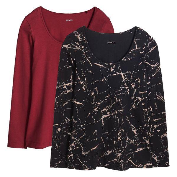 تی شرت آستین بلند زنانه اسمارا مدل 808as مجموعه 2 عددی