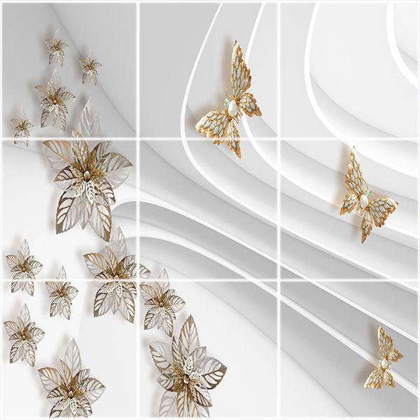 تایل سقفی آسمان مجازی طرح پروانه و گل کد 3D2080-9 سایز 60x60 سانتی متر مجموعه 9عددی