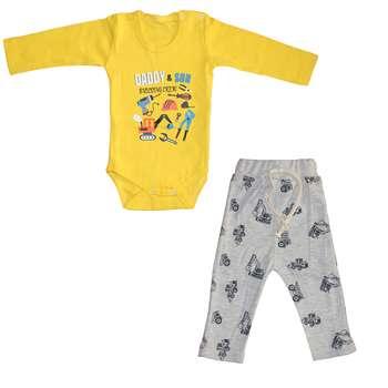 ست بادی و شلوار نوزادی مدل ابزار رنگ زرد
