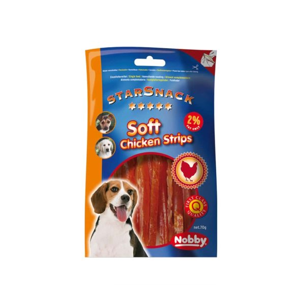 تشویقی سگ نوبی مدل soft chicken starsnack strips وزن 70 گرم