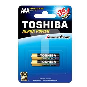 باتری نیم قلمی توشیبا مدل Alpha Power بسته 2 عددی