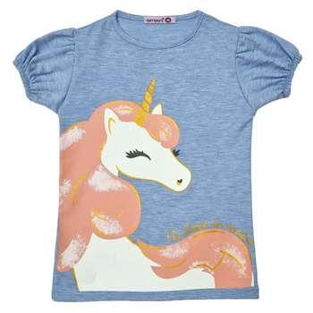 تی شرت دخترانه افراتین مدل اسب شاخ دار رنگ آبی