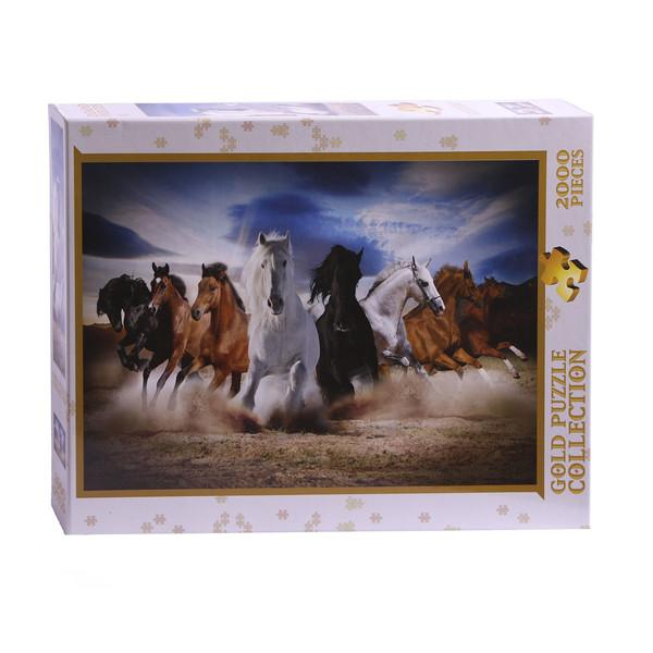 پازل 2000 تکه گلد پازل طرح اسب های تندرو کد 61468
