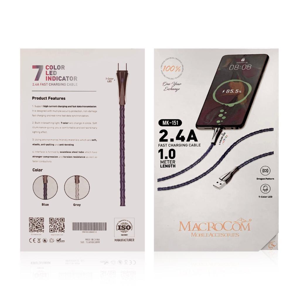 کابل تبدیل USB به USB-C ماکروکام مدل MK-151 طول 1 متر