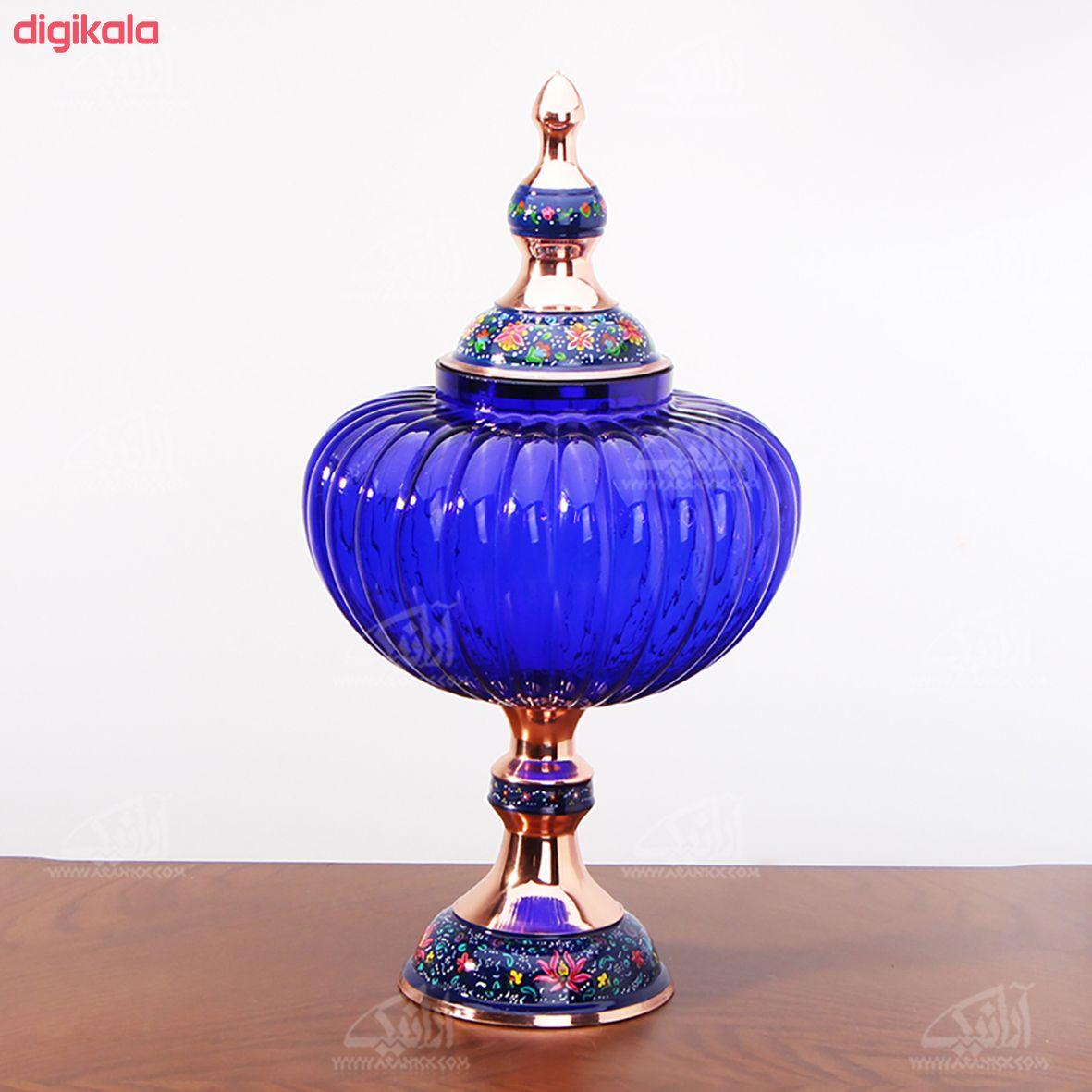 شکلات خوری پایه دار مس و پرداز رنگ آبی تیره طرح آبگینه مدل 1001200036 main 1 1
