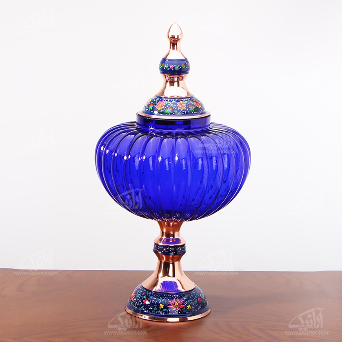 شکلات خوری پایه دار مس و پرداز رنگ آبی تیره طرح آبگینه مدل 1001200036