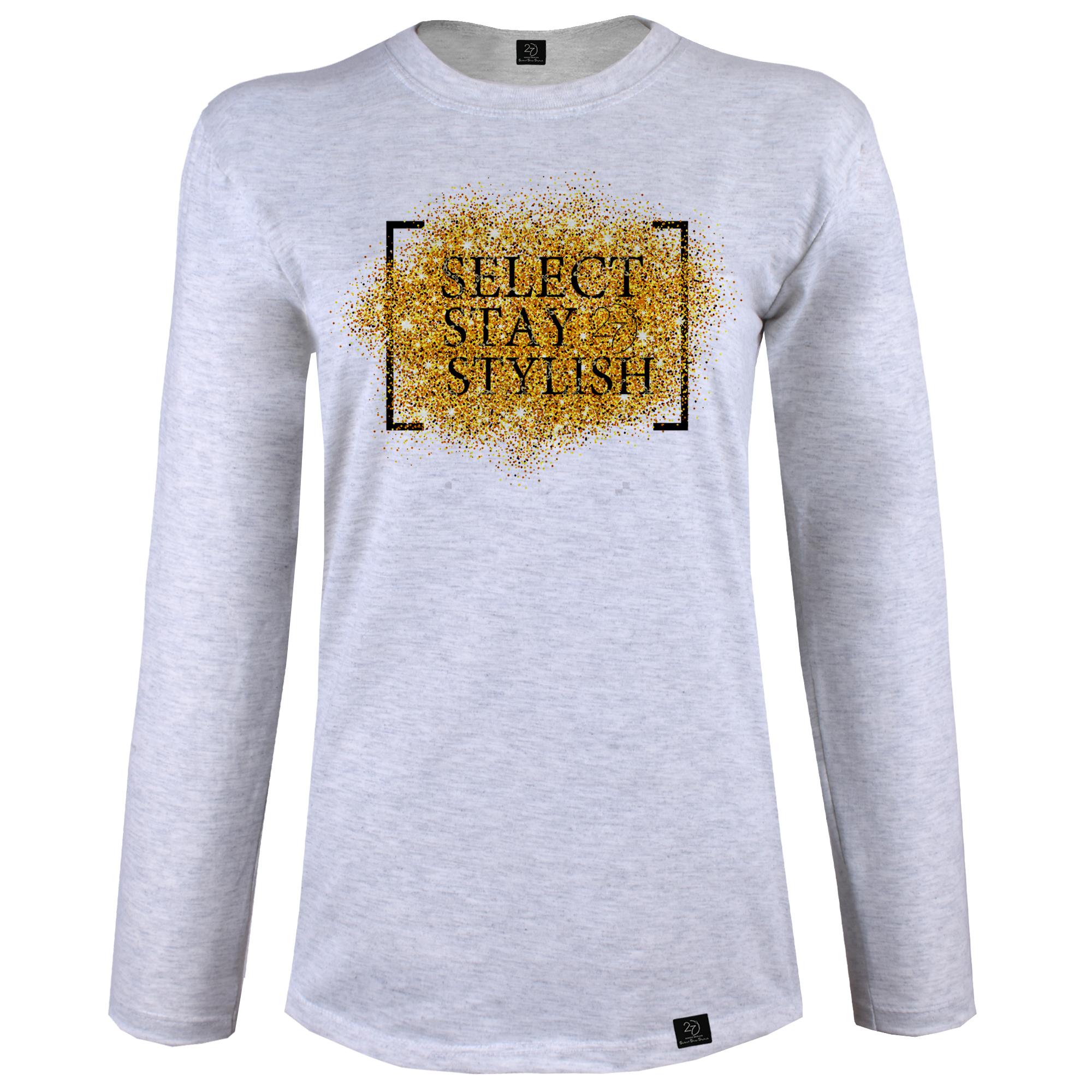 تی شرت آستین بلند زنانه 27 طرح SELECT STAY STYLISH کد J06 رنگ طوسی روشن