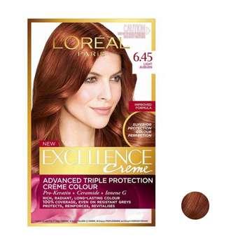 کیت رنگ مو لورآل مدل Excellence شماره 6.45 حجم 48 میلی لیتر رنگ قهوه ای قرمز روشن
