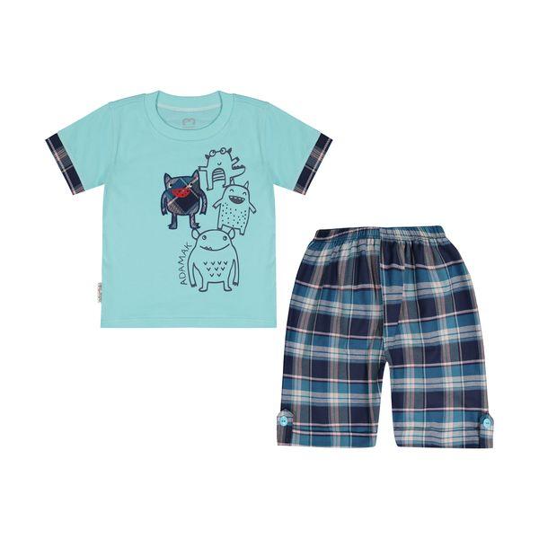 ست تی شرت و شلوارک پسرانه آدمک مدل 2171171-54