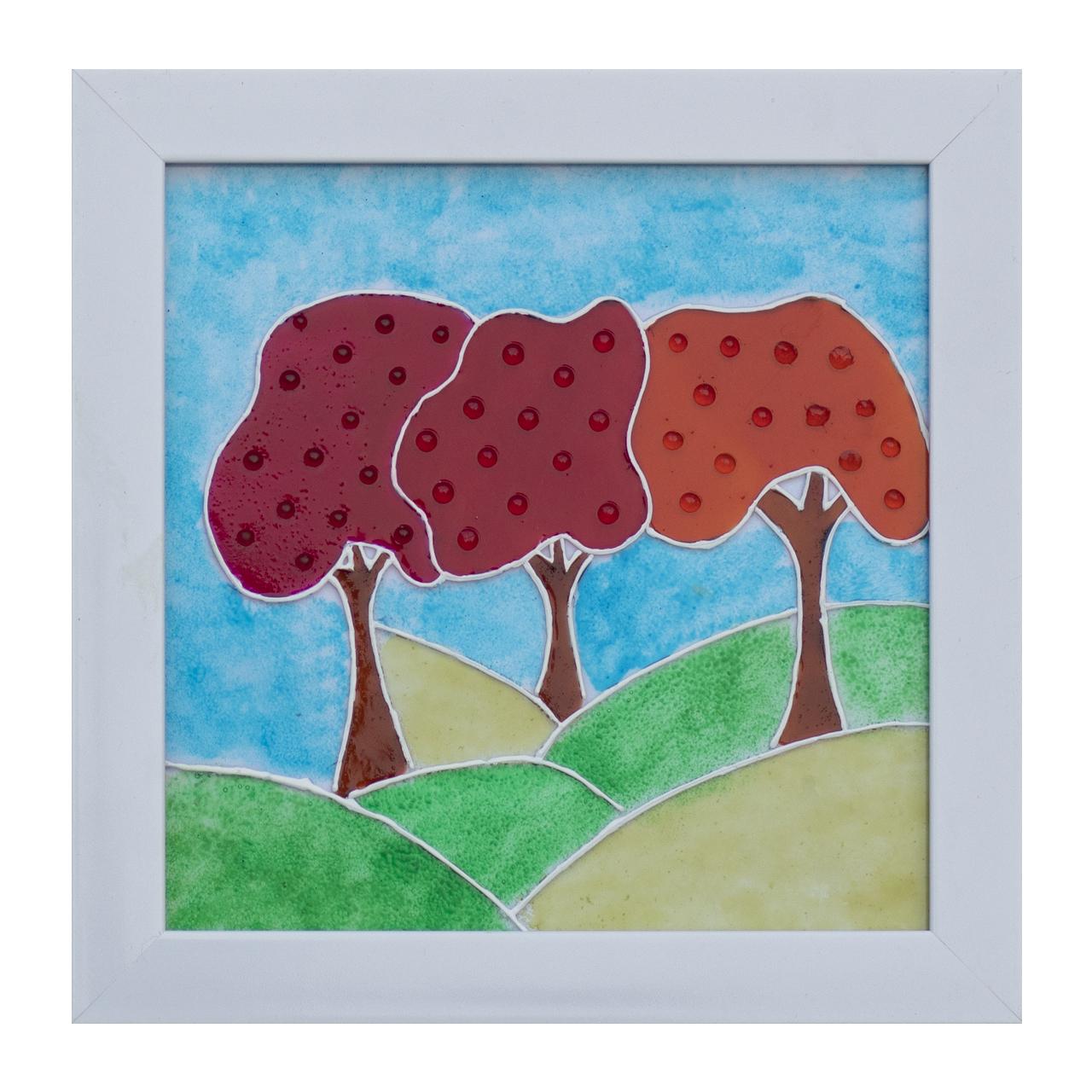 تابلو ویترای طرح سه درخت کد 01