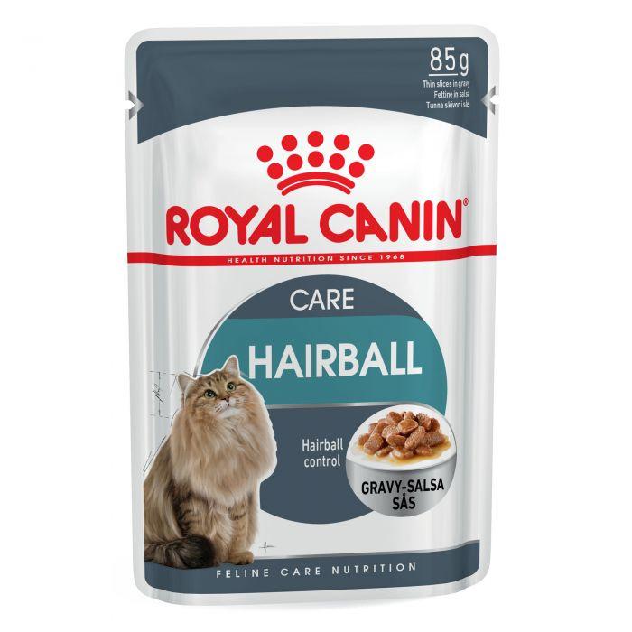 غذا پوچ گربه بالغ رویال کنین مدل hairball gravy وزن 85 گرم