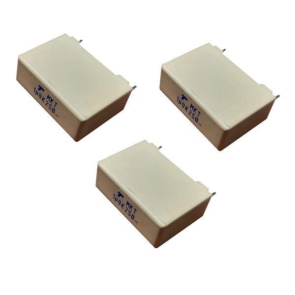 خازن 1 میکروفاراد مدل MKT 1UF 250V بسته 3 عددی