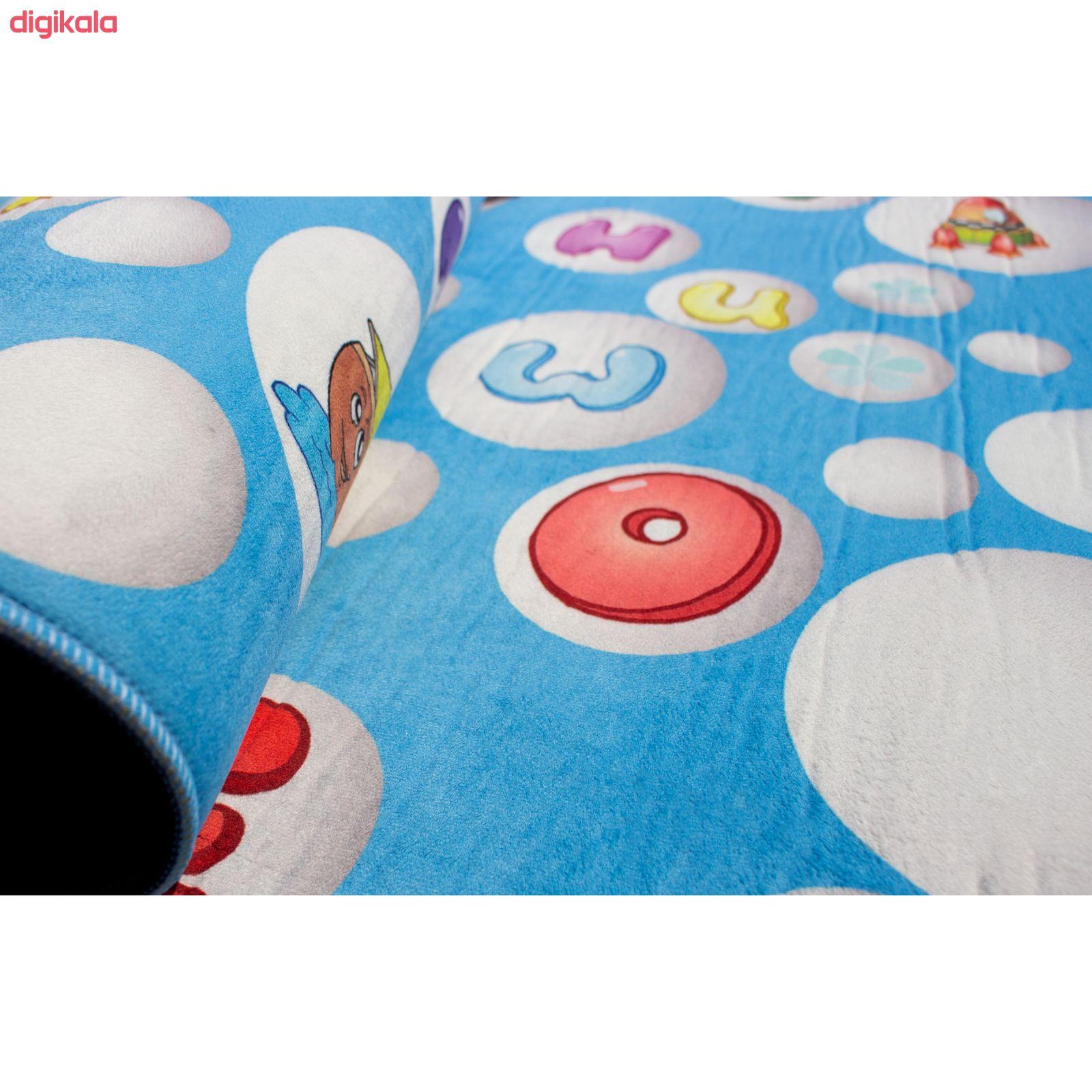 فرش ماشینی جانگل مدل Blue Alphabet کد 3D-2076