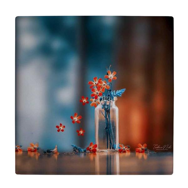 کاشی طرح گلدان شیشه ای و گل  کد wk3890