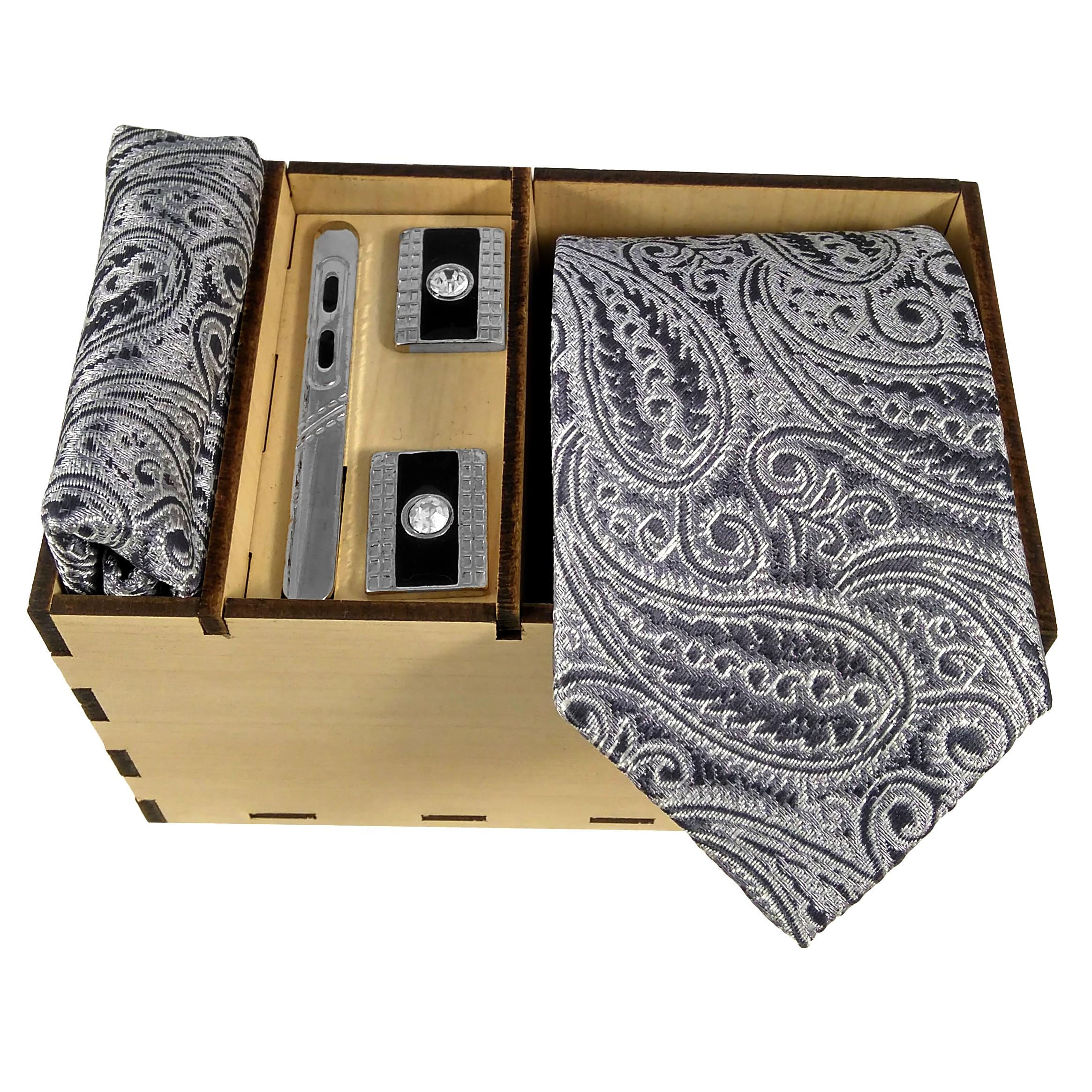 ست کراوات و دستمال جیب و دکمه سردست مردانه مدل 410B