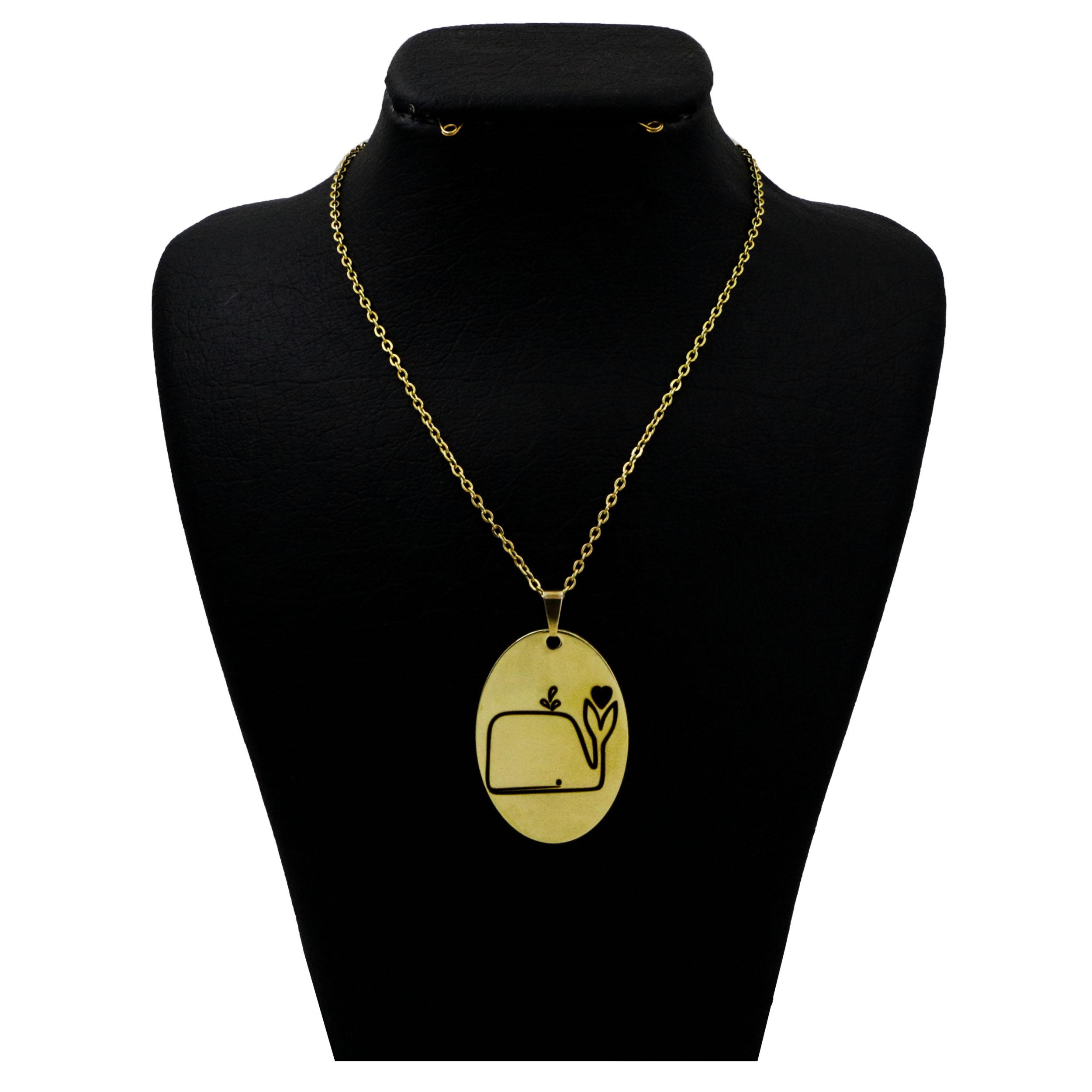 گردنبند نقره زنانه  مدل دلی جم طرح نهنگ کد D 348
