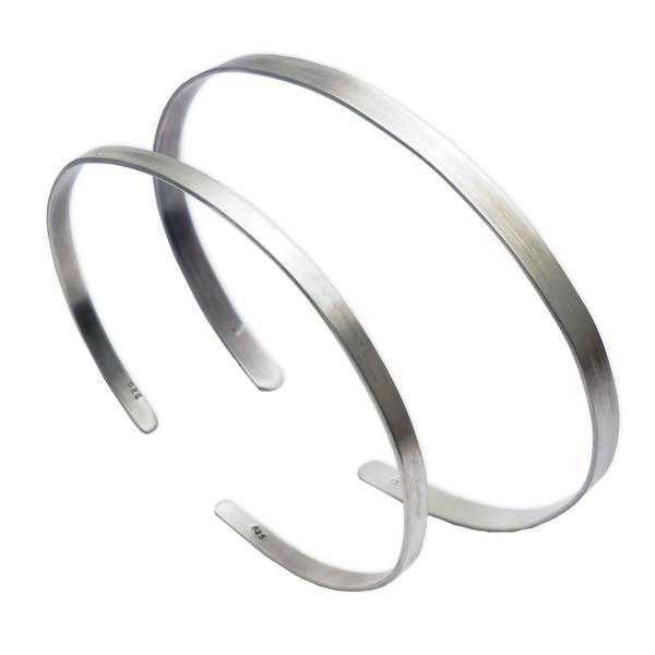 دستبند نقره مدل تاو S01 مجموعه 2 عددی