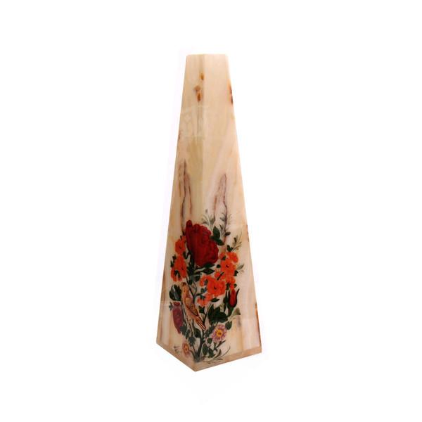 گلدان سنگ مرمر   قرمز طرح گل و مرغ  مدل 1016000012