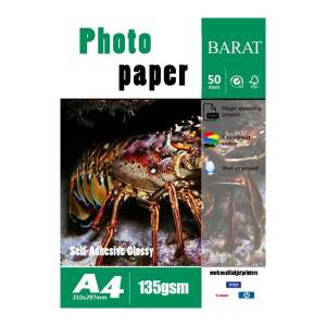 کاغذ پشت چسبدار فتوگلاسه بارات مدل 135GR سایز A4 بسته 50 عددی