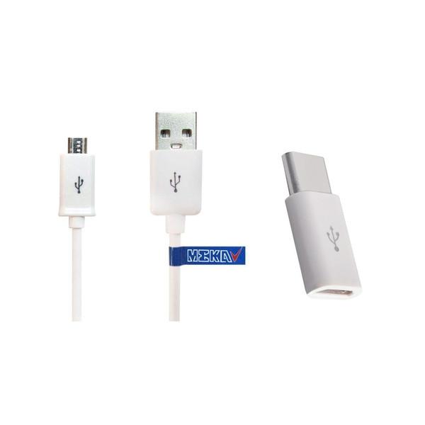 کابل تبدیل USB به microUSB مکا مدل MCU67 طول 1.2 متر به همراه مبدل microUSB به USB-C