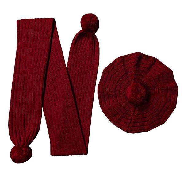 ست کلاه و شال گردن بافتنی بچگانه کد N14