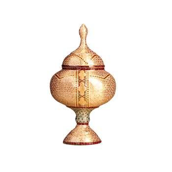 شکلات خوری پایه دار مس و خاتم  رنگ طلایی طرح ستاره مدل 1001200031