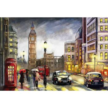 تابلو شاسی طرح نقاشی خیابان لندن و برج ساعت بیگ بن مدل T1005