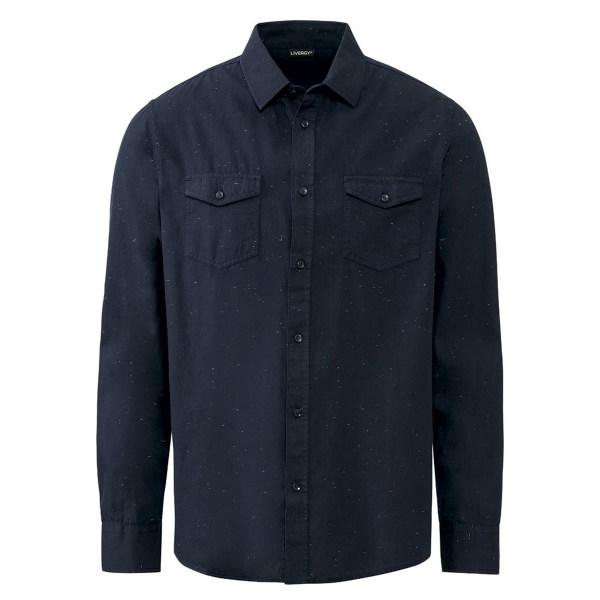 پیراهن آستین بلند مردانه لیورجی مدل p100266578 رنگ سرمه ای
