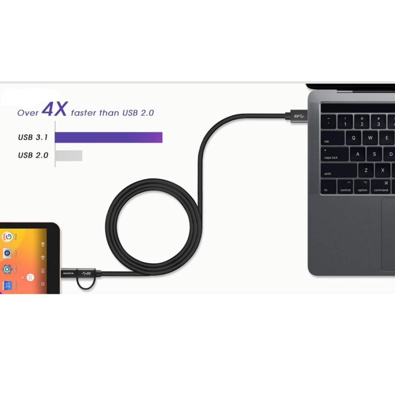 کابل تبدیل USB به microUSB/USB-C ای دیتا مدل One For All طول 1 متر