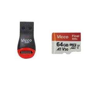 کارت حافظه micro SDXC ویکومن مدل 600X Plus کلاس 10 استاندارد UHS-I U3 سرعت 90MBs ظرفیت 64 گیگابایت به همراه کارت خوان