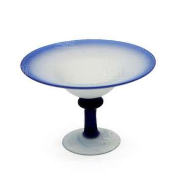 شکلات خوری پایه دار شیشه گری فوتی  رنگ سفید طرح ساده مدل 1001400003