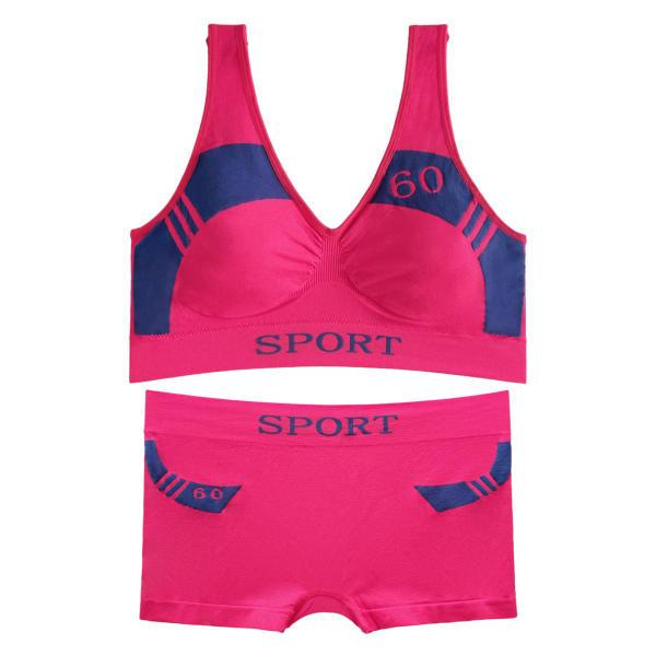 ست نیم تنه و شورت ورزشی زنانه کد 08-88831 رنگ سرخابی