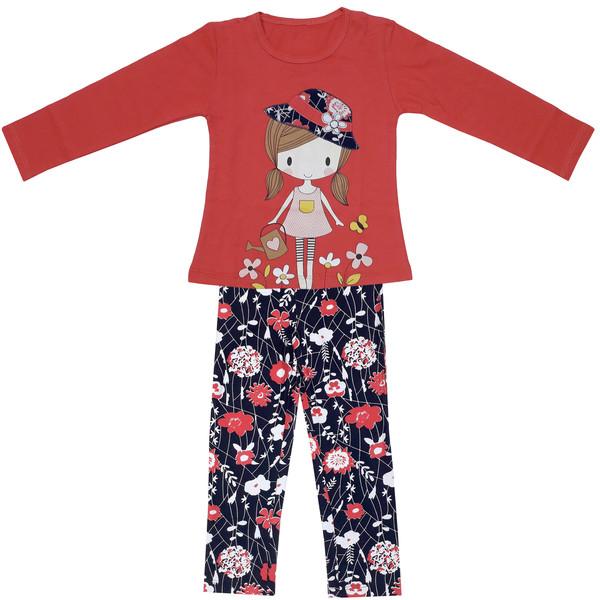 ست تی شرت و شلوار دخترانه طرح دختر باغبان کد 3022 رنگ قرمز