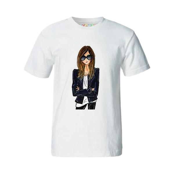 تی شرت آستین کوتاه زنانه چاپ سی مدل AT کد 04mw