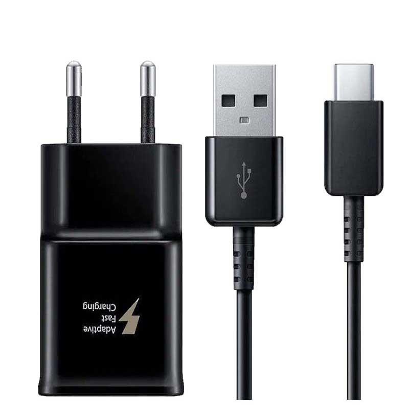 شارژر دیواری سامسونگ مدل EP-TA20EBECGAE به همراه کابل تبدیل USB-C