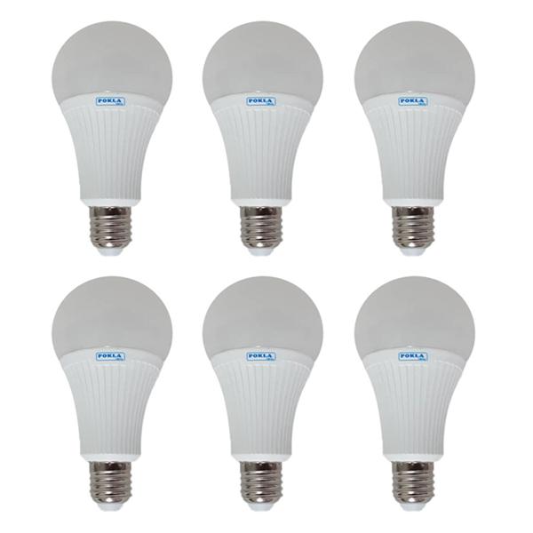 لامپ ال ای دی 18 وات پوکلا مدل P018 کد 006 پایه E27 مجموعه 6 عددی