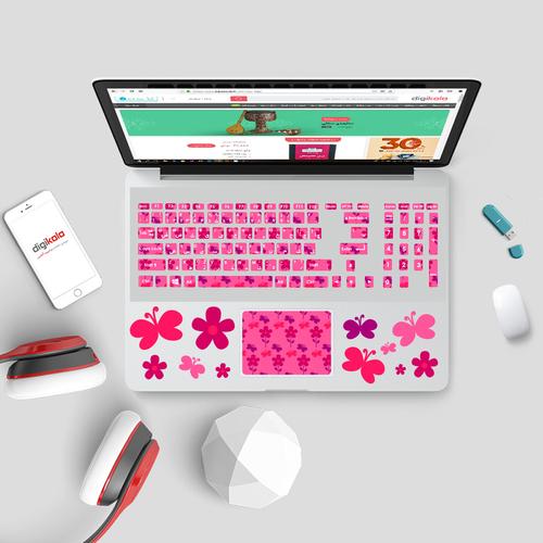 استیکر لپ تاپ صالسو آرت مدل 8002 hk مجموعه 20 عددی به همراه برچسب حروف فارسی کیبورد